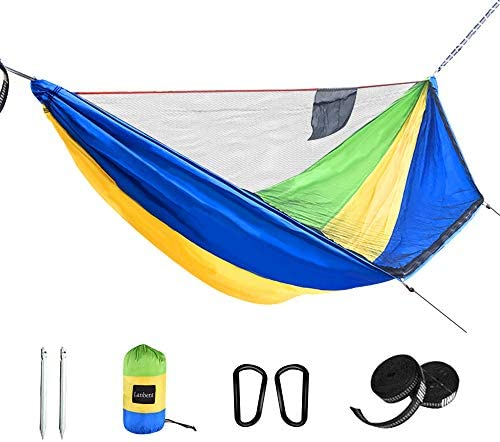 Lanbent Camping Hammock with net, Sun Protection and pop-up Design, Support Rope Design,Two-Way Zipper, Easy to Install, Ultralight Nylon Fabric, Suitable for Camping, Courtyard Gathering