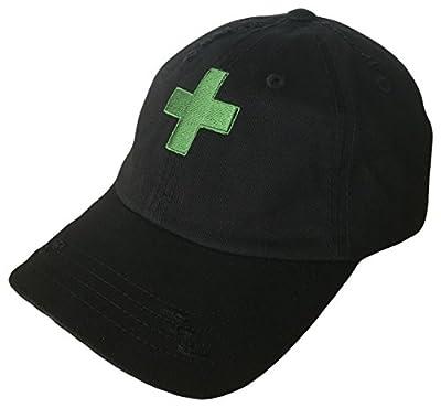 The Hat Shoppe Marijuana Green Cross Dad Hat Baseball Cap (One Size, Black/Green)