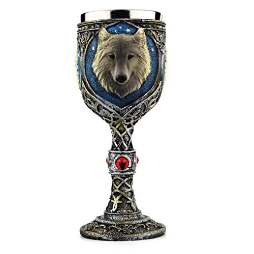 Amaping Stainless Steel Wolf Goblet Resin 3D Carved Vintage Wolf Coffee Cup Stainless Steel Tea Mugs (Wolf Goblet) ()