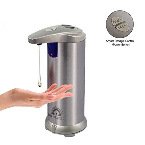 Sol Sparkle Touchless Soap Dispenser Hands Free Automatic No Touch Stainless Steel-Works with Liquid Dish Soap for Kitchen Sink Bathroom Shower-Kid Friendly with Auto Infrared Motion Sensor