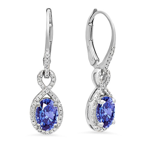10K White Gold Oval Tanzanite & Round White Diamond Ladies Infinity Dangling Earrings - White Gold Diamond Tanzanite Earrings