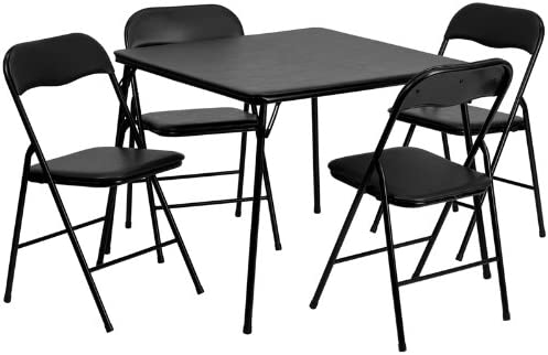 Emma Oliver 5 Piece Black Folding Game Room Card Table and Chair Set