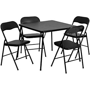 Amazon.com: Flash Furniture 5 Piece Black Folding Card Table Chair ...