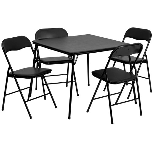 (Flash Furniture 5 Piece Black Folding Card Table and Chair Set)