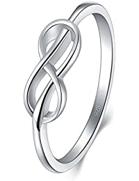 925 Sterling Silver Ring, BoRuo High Polish Infinity Symbol Tarnish Resistant Comfort Fit Wedding Band Ring Size 4-12