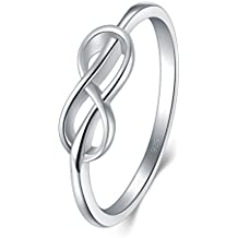 BORUO 925 Sterling Silver Ring, High Polish Infinity Symbol Tarnish Resistant Comfort Fit Wedding Band Ring Size 4-12