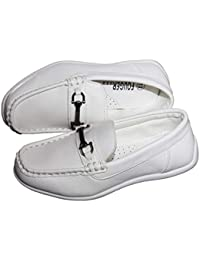Boys Designer Slip On Dress Loafers in Black White and Brown