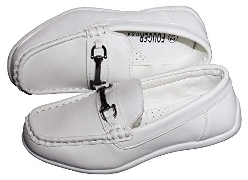 Boys Designer Slip On Dress Loafers in Black White and ()