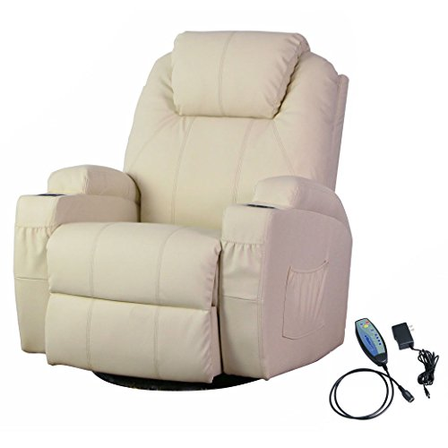 U-MAX Heated PU Leather Massage Recliner Chair With Control Ergonomic Lounge (Cream) (Beige Leather Recliner)