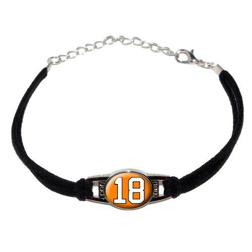 Number 18 on Orange - Novelty Suede Leather Metal Bracelet - Black