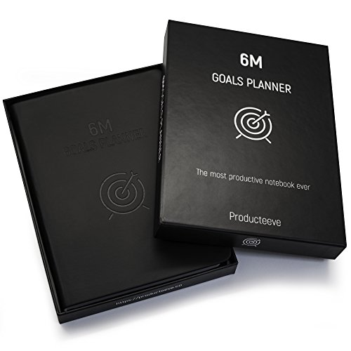 6M Goals Planner - Beautiful Undated Agenda - Daily and Weekly Journal to Achieve Goals and Increase Productivity and Happiness. Black A5 Hardcover.