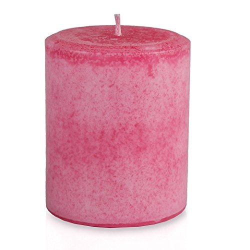 Romantic Rose Petals Scented Decorative Pillar Candle - Handmade - Hand-poured