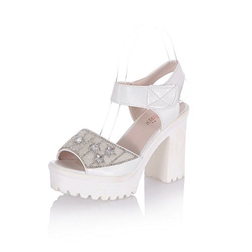 AgooLar Women's Hook And Loop High Heels Pu Assorted Color Open Toe Sandals White