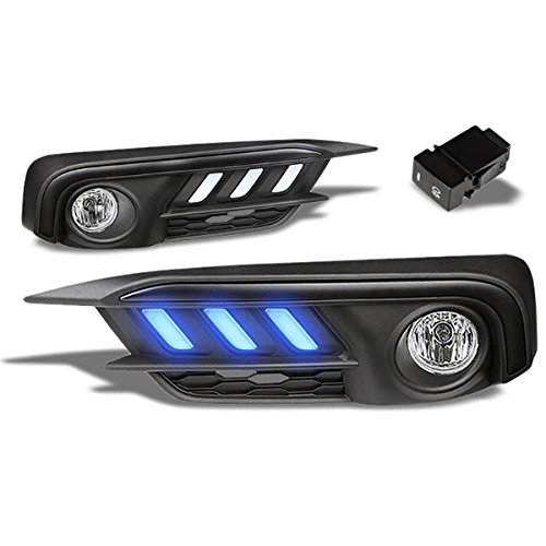 Mustang Style Blue LED DRL Bumper Fog Light Bezel Cover+Bulb For Honda 16-17 Civic 2-Dr, 4-Dr LX, EX (H8 Bulbs Included)