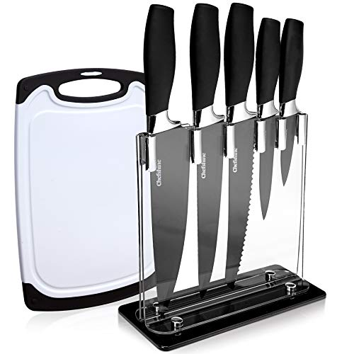 7 Piece Kitchen Knives Set With Block And Plastic Cutting Board, Culinary Kitchen Knife Set With Acrylic Stand, Pro Grade Stainless Steel Blades, TPR Black Handles (Best Type Of Cutting Board For Knives)
