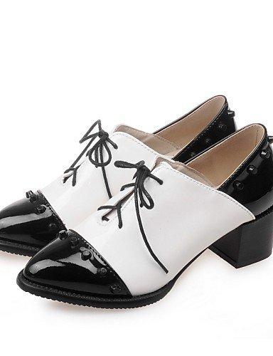 NJX/ hug Damenschuhe-High Heels / Oxfords-Büro / Kleid / Lässig-Lackleder / Kunstleder-Blockabsatz-Absätze / Rundeschuh / Kappe-Schwarz / Weiß black-us3.5 / eu33 / uk1.5 / cn32