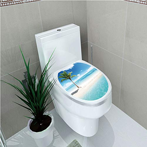 Toilet Sticker,Ocean Decor,Scenery Shore Picture Sunlights View Palm Tree,Diversified,W12.6