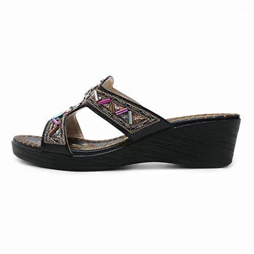 Carolbar Women's Bohemia Beaded Rhinestones Mid Heel Beach Sandals Black 0t4jj