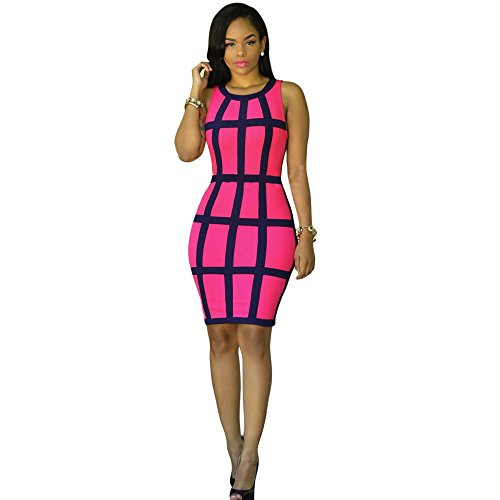 Women Girls Fashion Dress GoodLock Lady Female Sexy Bandage Cocktail Sleeveless Bodycon Evening Party Dresses (Hot Pink, Size:S)