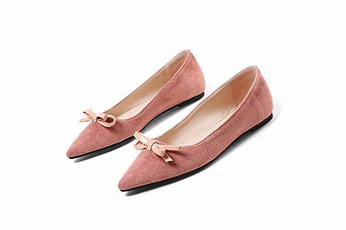 Mee Shoes Damen Flach Spitz mit Schleifen Pumps Pink