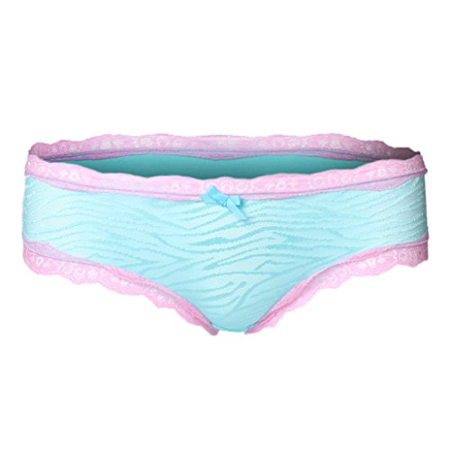 Aqua Bikini Panty (Absolute Clothing Women's Cotton Blend Low Rise Bikini Brief Under Wear Panty - Zebra Lace Aqua MD)