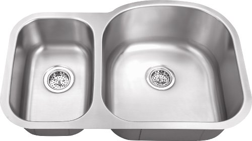 MS3070P 18-Gauge 32-in x 20 3/4-in x 9-in Stainless Steel 30/70 Offset Double Bowl Kitchen Sink with Grid Set and Strainers by Magnus Sinks (Image #1)