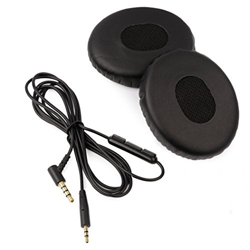 [REYTID] Bose OE2 Cable & Ear Cushion Kit for On-Ear 2 & SoundTrue (On-Ear) Headphones - Black Leather & In-Line Remote - Replacement Headphone Lead Ear Pad EarPads Cord Audio