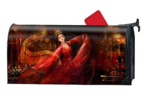 Tollyee Fantasy Oriental Red Dance Magnetic Mailbox Cover Magnetic Mailbox Cover 6 5 W X 19 L Mailbox Covers