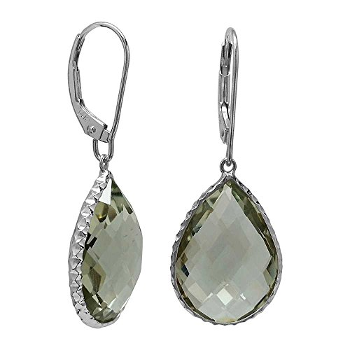 Gem Stone King 19.25ctw 14K White Gold Hammered Style Green Amethyst Dangle Earrings