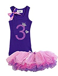 Bubblegum Divas Little Girls\' 3rd Birthday Purple Pink Princess Tutu Outfit 5-6