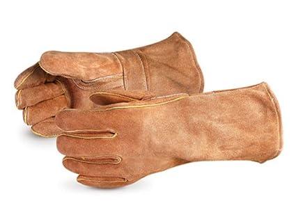 Superior 505bs Hamilton Deluxe Side Split correa de piel soldadores guantes con pulgar y Kevlar cosido