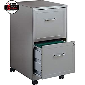Lorell 16873 2-Drawer Mobile File Cabinet, 18-Inch Depth – Gray
