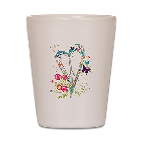Shot Glass White of Flowered Butterfly Heart Peace Symbol