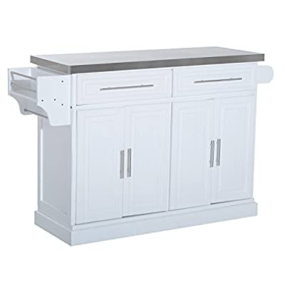 HOMCOM Modern Rolling Kitchen Island Storage Cart w/Stainless Steel Top