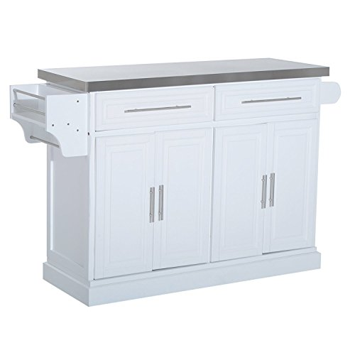 Modern Large Kitchen Island Rolling Cart With Stainless Steel Top And Storage Cabinets - White ()