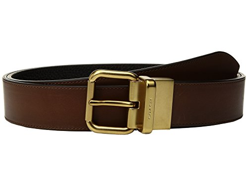 COACH Men's Jeans Reversible Belt Dark Saddle/Black Belt