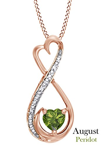 Simulated Peridot & White Diamond Accent Infinity Heart MOM Pendant Necklace in 925 Rose Gold Over Sterling Silver