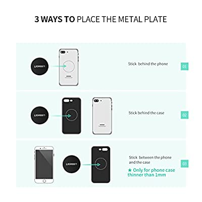 UGREEN Metal Plate for Magnet Cell Phone Holder, Sticky Adhesive Replacement for Magnetic Car Mount and Phone Case, 4 Pack, 2 Rectangle and 2 Round, Black