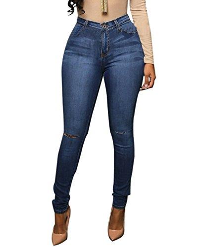 Vita Blu Strappati Eleganti Denim Jeans Dooxi Pantaloni Boyfriend Scuro Skinny Alta Matita Casuale Donna 7xqfz0
