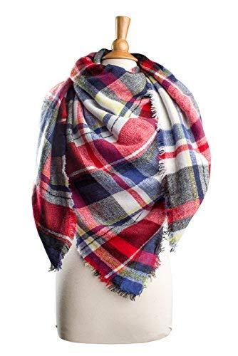 Whitenavy Plaid Plum Feathers Premium Plaid Pattern Knit Large Blanket Scarf with Fringes