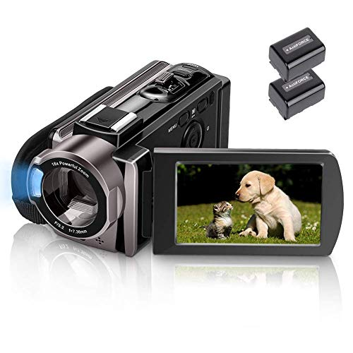 Video Camera Camcorder MELCAM HD 1080P 24.0MP, 3.0 inch LCD 270 Degrees Rotatable Screen, Smile Capture (auto Capture), Small YouTube Vlogging Camera, 16X Digital Zoom Camera Recorder and 2 Batteries