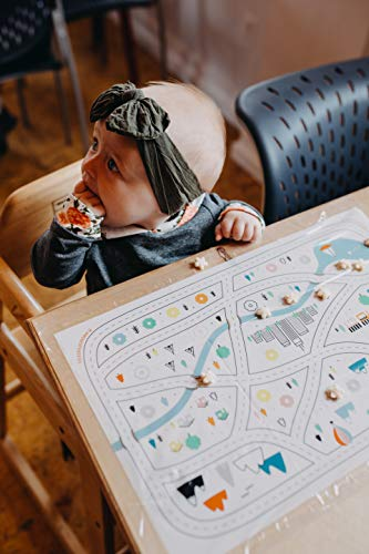 Disposable Placemats for Baby Toddlers Kids, Table Topper Disposable Placemats - Biodegradable BPA-Free Premium Super Sticky Stick-on Place Mats - Roadmap by Mini Explorers (60 Count) by Mini Explorers (Image #7)