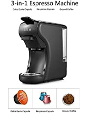 HiBREW 3-in-1 Multi-Function Espresso Dolce Gusto Machine Compatible with Nespresso Capsule, Dolce Gusto Capsule and Ground Coffee, Italian 19 Bar High Pressure Pump - Black