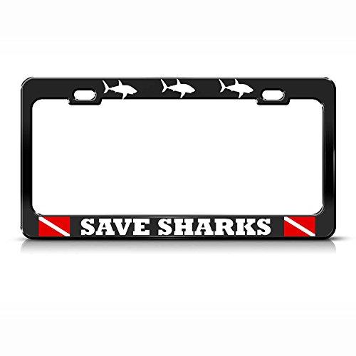 Save Sharks License Plate Frame Shark Metal Love Scuba Diving Black Tag Border Perfect for Men Women Car garadge Decor ()