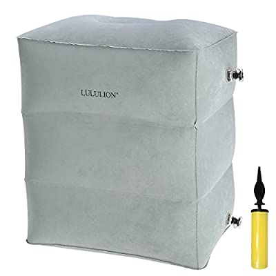 LULULION Inflatable Footrest and Pillow with Adjustable Height Kids Travel Bed for Airplane Home – Air Pump Included, Gray