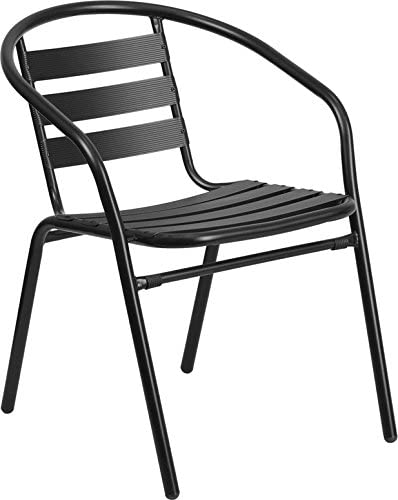 Emma Oliver Black Metal Stack Chair with Aluminum Slats