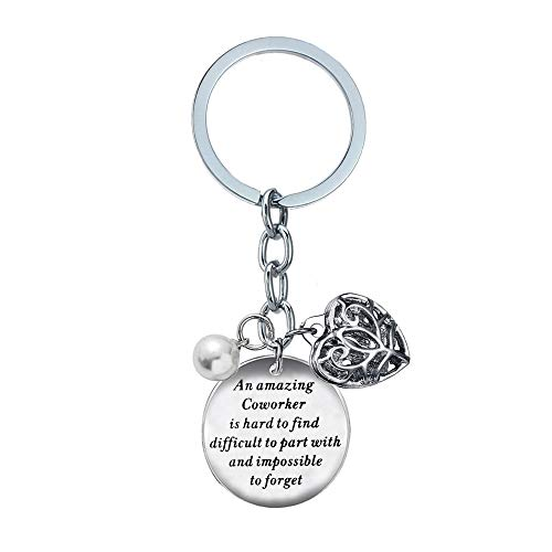 BESPMOSP Coworker Leaving Heart Keychain an Amazing Coworker is Hard to Find Difficult to Part with and Impossible to Forget Goodbye Gifts for Best Coworker Colleague and Boss (For Gift Leaving Coworker)