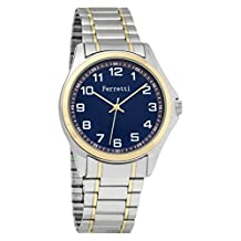 Ferretti Men's | Classic Two-tone Brushed Silver & Gold Easy Reader Blue Face Self-Adjustable Watch | FT15102