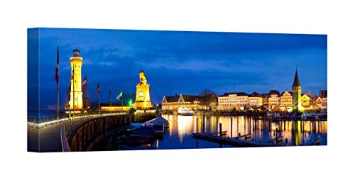 - Easy Art Prints Panoramic Images's 'Historic Port at Night, Lindau, Lake Constance, Swabia, Bavaria, Germany' Premium Canvas Art 36 x 12