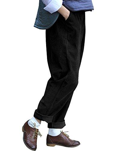 Retro Corduroy Pants (IDEALSANXUN Women's Retro Thick Corduroy Elastic Waist Loose Fit Casual Harem Pants Trousers (One Size, Black))